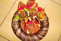 funeral wreath & autumn leaf