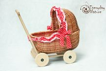 Dolls Pram / Traditional wicker dolls prams, handmade and eco-friendly. Very strudy and unique!