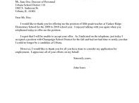 Job Offer Acceptance Letter Example