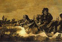Francisco de Goya / Pinturas Negras (peintures noires, black paintings), 1819-1823 / Les Peintures noires (en espagnol : Pinturas negras, 1819-1823) est une série de quatorze fresques de Francisco de Goya peintes avec la technique de l'huile al secco (sur la surface de plâtre d'une paroi) pour décorer les murs de sa maison, appelée la Quinta del Sordo (« ferme du Sourd »), que le peintre avait acquise en février 1819 ; ces fresques furent transférées sur toile entre 1874 et 1878. Elles sont actuellement conservées au Musée du Prado, à Madrid.
