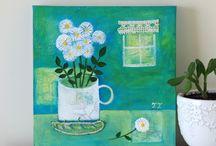 Still Life Paintings by Teodora Paintings / Original still life paintings created in acrylic and mixed media.