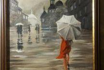Esernyős festmények