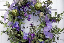 Purple flowers and wreaths
