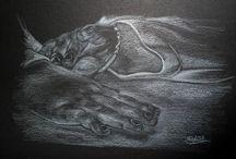 dessin sur fond noir /  crayon blanc sur feuille noire