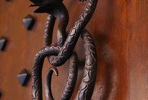 Doors and door  knockers.