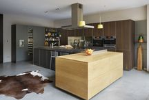 Kitchen Architecture bulthaup case study : Double-height glazed extension / Kitchen Architecture's bulthaup b3 furniture in aluminium grey and smoked oak with stainless steel work surfaces.