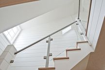 Nanucket, Massachusetts / We worked with Stewart Smith of Versatile Const. Services to develop this custom stainless steel railing design with tempered glass infill. The result was one clean, beautiful and modern looking stainless stair rail.