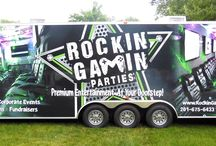 Rockin' Gamin' Theatre / Rockin' Gamin' Parties' state-of-the-art, limo style Gaming Theatre is the perfect way to celebrate any high- energy event. Imagine stepping into your own, private, futuristic gaming headquarters, equipped with giant  HDTV's, the industry's hottest video games, X Rocker Gaming Captain's Chairs, a heart-pounding sound system, and killer special effects lighting.