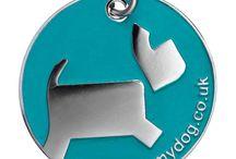 Designer dog tags / Blue, lime, orange, pink or #LoveMyDog purple - What's your favourite colour dog tag?