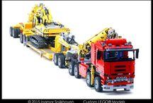 vrachtwagen met graafmasjiene