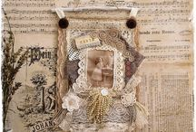 Fabric Collage Art / Beautiful fabric collage art - vintage