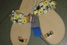 kathy's sandals ! ! ! ! / real leather sandals,decorated  by me.