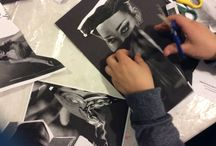 Family workshop Face It 1.4.2015 / Black and white only was the colour of this FOUND image inspired workshop inspired by the work of John Stezaker
