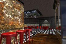 Darmstadt restaurant / Industrial design resturant, checkered floor, vintage wood, beton walls, industrial lamps