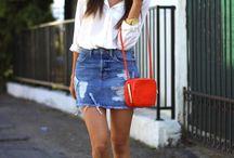 Look saia jeans e tênis