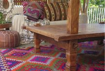 Gypsy home styling / Bold colours, natural elements mixed with patterns, tribal pieces and handmade rugs.