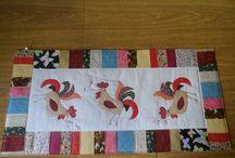 trilho de mesa / trilho de mesa com tema galos e moldura colorida