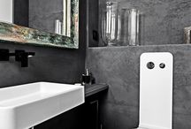Architectural concrete in bathroom. / Dark, concrete panels that make your bathroom will be modern and unique.