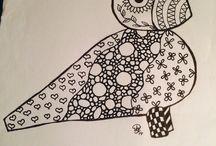 Lidt tegning / Jeg er begyndt at doodle (tegne krusseduller)