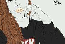 Things I love / Digital drawings made with SAI, SL avatar, makeup and fashion  Enjoy!