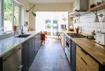 Green Industrial Style Galley Kitchen