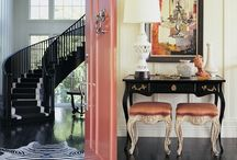 M&J Entry Way / Black and white with a POP of color