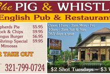 The Pig & Whistle English Pub & Restaurant /  The Collett family moved from Ascot England to Cocoa Beach in 1981 where they opened The Pig & Whistle in 1985.  They relocated to their current location in 2007, a beautiful freestanding building right on Orlando Ave (A1A) in the heart of Cocoa Beach and just one block from the Atlantic ocean.  The Colletts have been in the restaurant business for over 50 years serving delicious British & American fare to locals & Vacationers.