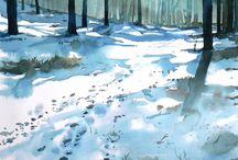 Art - painting - 7 WINTER watercolor