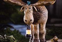 Moose and wood carvings