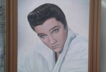 Elvis Portrait by Lea Sebech / I painted this portrait in spring 2014. It was a gift for Graceland Randers were it is hanging now. Graceland Randers in Denmark -       https://www.facebook.com/pages/Graceland-Randers-English/214702438727106?sk=timeline   is a museum with lots of Elvis Presley´s personal memorabilia included several jumpsuits. The house also has a Diner Highway 51 https://www.facebook.com/www.gracelandranders.dk?fref=ts  Copy the links above to your browser and see more.