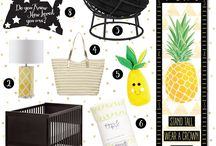 Pineapple Nursery Decor / Monochrome black and white pallets mixed with a pop of pineapple!   <3 <3 <3 Nursery Decor at it's finest.  This whimsical look is just the sweetest!