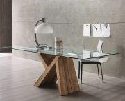 Tavolo legno con vetro