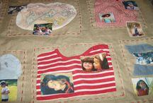 Kilt de cama 2 / Kilt para cama de jovem ilustrado por fotos e pedaços de roupas de infância