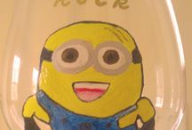 """Minions Rock In Despicable Me 2 / Minions Hand painted Wine Glasses To Publicize """"Despicable Me 2"""" Movie"""