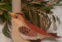 pájaros en fieltro
