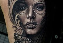 Beautiful Day of the Dead tattoos / Gorgeous tattoos featuring lady day of the dead images.