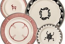 Mimbreño Dinnerware / Inspired by the thousand year old pottery artwork of the ancient Mimbres culture and envisioned by architect Mary Colter for the Santa Fe Railway Dining Car Service, this legendary dinnerware returns to the Southwest.  With careful attention to detail and authenticity in original colors and patterns, HF Coors is now manufacturing this historical collection in the USA.