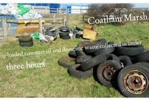 Coatham Marsh Clean up March 2015 / 50 volunteers come together with support from Tees Valley Wildlife and 1st Choice skips to clean up historical litter and fly tipping on Coatham Marshes