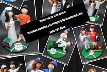 Baseball Wedding Cake Toppers / Wedding cake toppers made to order for baseball fans and players. Yankees, Mets, Red Sox, Little League….whatever team you cheer for!  If you want to be in gown and suit or in jerseys and ball caps, each kiln fired clay figurine is created to your specifications.  Design over the phone at 1 800 231 9814 www.magicmud.com