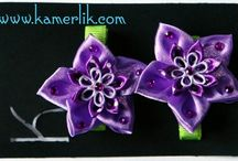 my kanzashi flowers :) / #flowers; #kanzashi; #ribbon; #bow; #hairclip