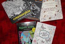 Könyveim, ceruzám és egyéb színezős cuccok / Books, pencils and other coloring stuffs. / Ezekhez a könyvekhez ezeket a cuccokat használom. I use these stuffs for these adult coloring books.
