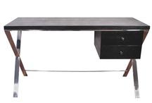 Valencia Black Satin Wood Stainless Steel Legs Desk