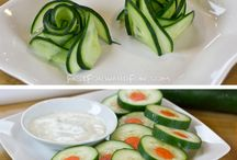 Creative Garnish Ideas / Make your meal pretty! Dress up your dish with these fun garnish ideas using cucumbers, tomatoes, lemons and more.