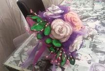 bouquet fiori all'uncinetto lilla