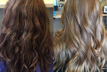 Dark brown to blonde hair, before and after