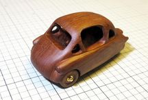 wooden miniature car