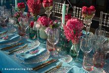 Manteles azul verdoso para una fiesta ----- Turquoise tablecloths for a party / Una mantelería diferente siempre ayuda a sorprender a los invitados de una fiesta. En esta ocasión, los manteles azul verdoso destacaron como nunca. ---/--- A unique table linen always helps impress party guests. For this special occasion, the turquoise tablecloths stood out.