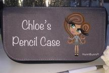 ♡ Personalised Pencil Case / The perfect pretty pencil case for all school girls!  Using the HunniBunni Builder you can choose between the primary school and secondary school outfits, outfit colour, hair styles, hair colours, eye colours, skin tones and can add your name or personalised text so that your pencil case will be special, individual and unique to you -   visit our website: www.hunnibunniboutique.co.uk