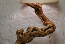 lampade con legni di mare