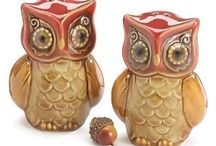 Autumn Owl Salt and Pepper Shakers